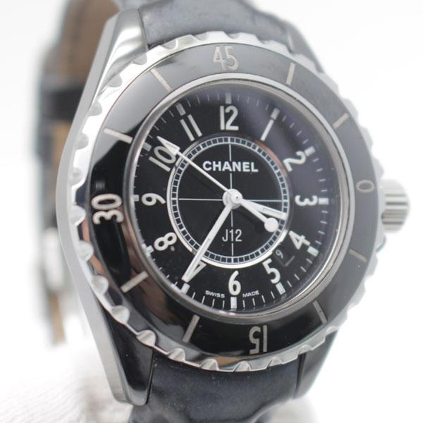 040117e735b1 シャネルCHANEL 腕時計 J12 H0680 黒セラミック 33ミリ 革ベルト QZ レディース1