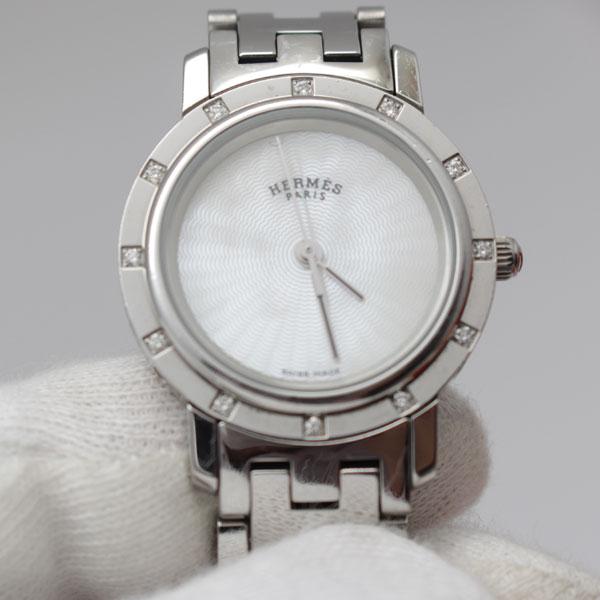 official photos 92783 1e42a エルメス クリッパーナクレ ダイヤ 12P 腕時計 CL4.230.215 ...